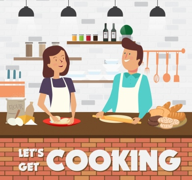 cooking banner man woman kitchen icons cartoon design