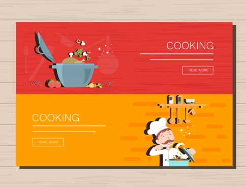 cooking banner sets kitchenwares icons decoration webpage style