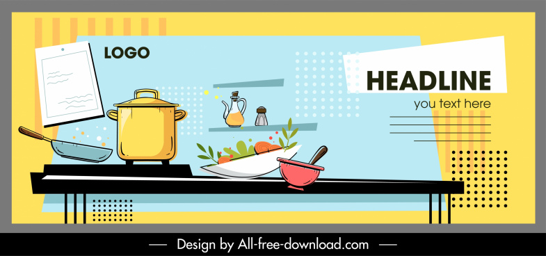 cooking banner template dynamic utensils sketch