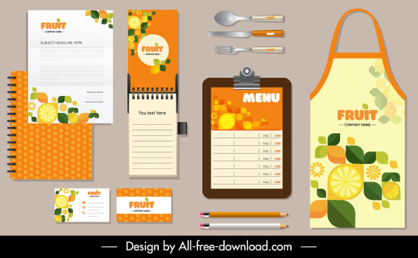 cooking branding identity sets colorful flat fruits decor