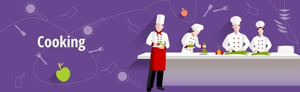 cooking concept illustration with working chef and cooks