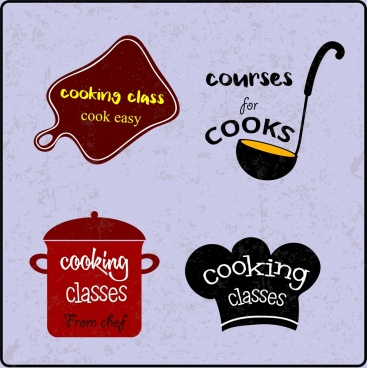 cooking design elements board pot spoon hat icons