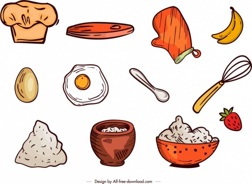 cooking design elements colored classical handdrawn icons