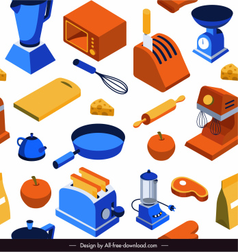 cooking design elements colorful 3d sketch