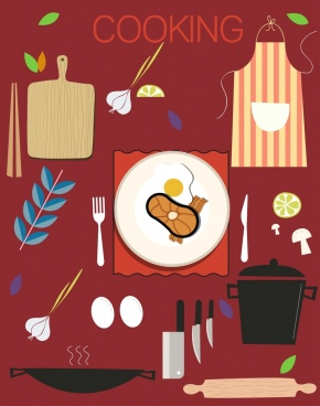 cooking design elements utensils food icons flat design