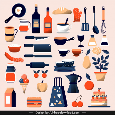 cooking design elements utensils ingredients sketch colorful classic