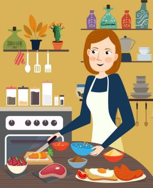 cooking painting housewife cuisine preparation kitchenware icons