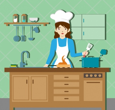 cooking preparation drawing housewife kitchenware icons decor