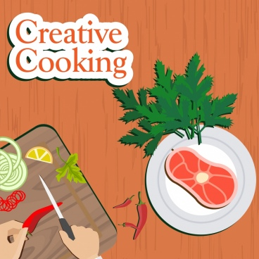 cooking promotion banner kitchenwares meat icons ornament