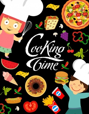 cooking time banner kids various food icons decor