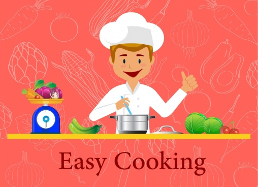cooking training advertising male cook ingredients ornament