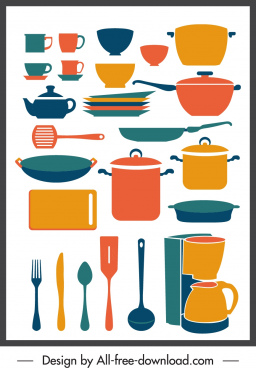 cooking utensils icons colorful classical sketch