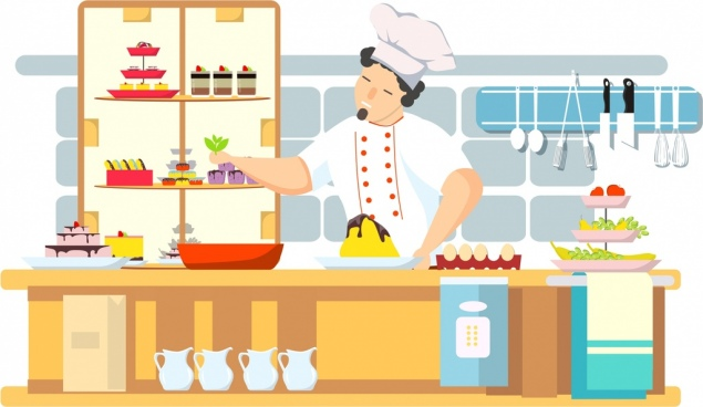 cooking work background chef kitchen icons cartoon character