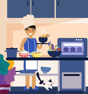 cooking work background housewife kitchenware icons cartoon design