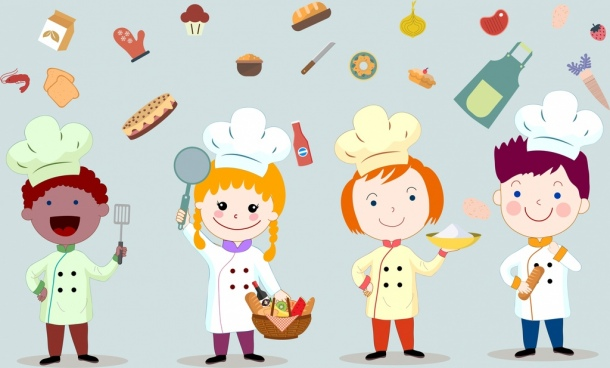 cooking work background kids food icons cartoon characters