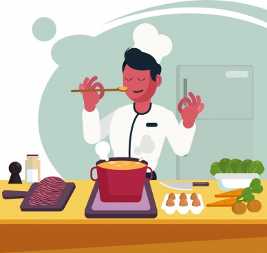 cooking work background male cook food icons