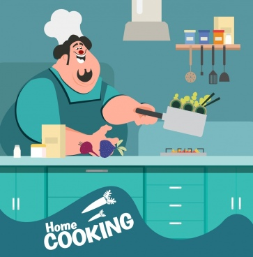 cooking work background male cook icon cartoon design