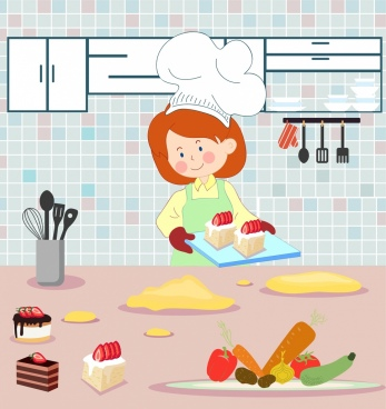 cooking work background woman food kitchen icons decor