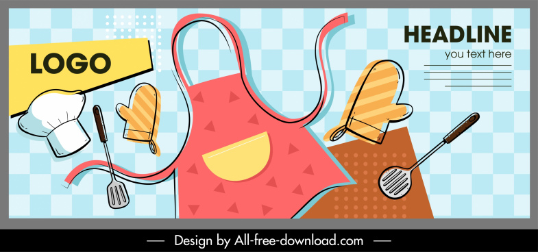 cooking work banner kitchen elements sketch flat classic