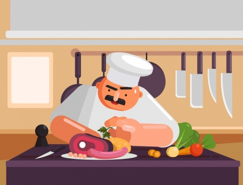 cooking work painting cook food icons cartoon design