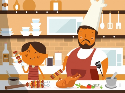 cooking work painting father son kitchenware food icons