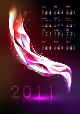 2011 calendar template shiny dark violet light motion