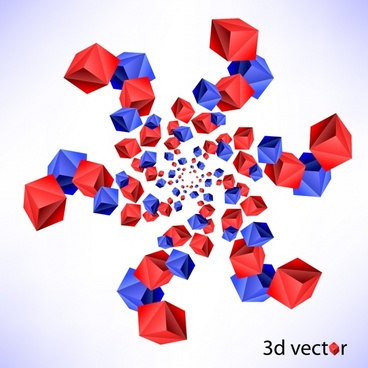 geometrical background red blue 3d cubic decor