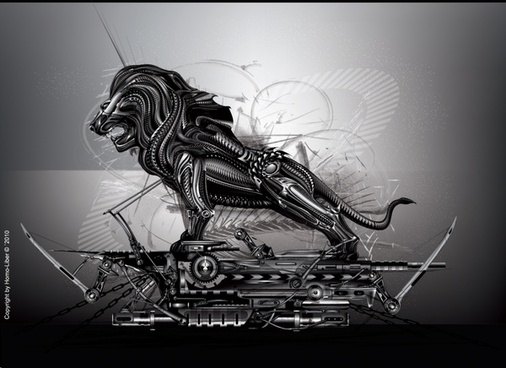 mechanical background lion icon modern grey design
