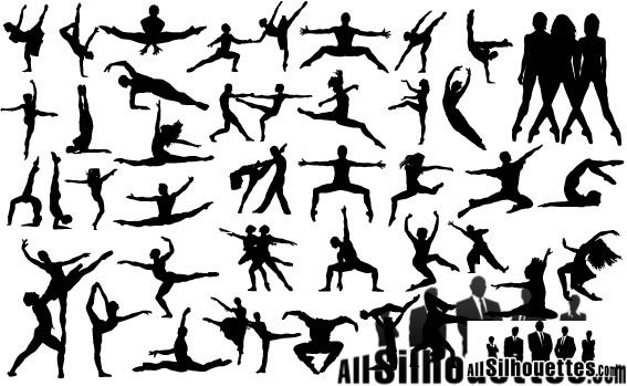 cool set of dancing people silhouettes
