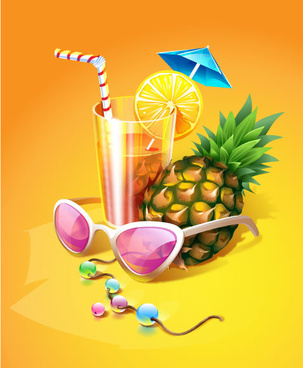 cool summer drinks vector