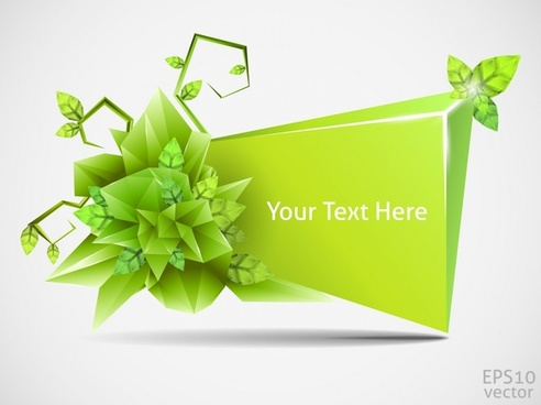 decorative banner modern bright green 3d crystal
