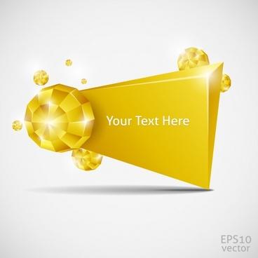 decorative banner sparkling golden 3d crystals