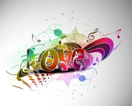 love background music notes decor dynamic 3d design