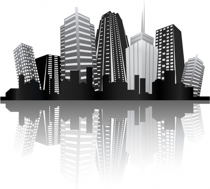urban background skyscrapers icon black white reflection design