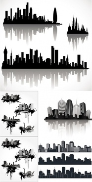 cool vector silhouette of the city
