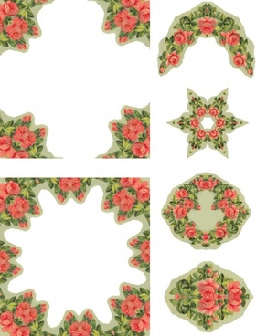 coral roses collage sheet
