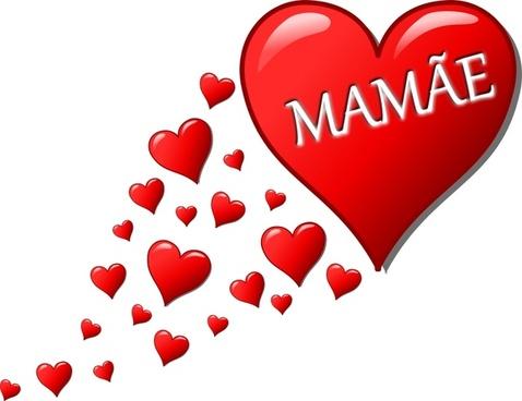 Coração para o Dia das Mães com um rastro de corações