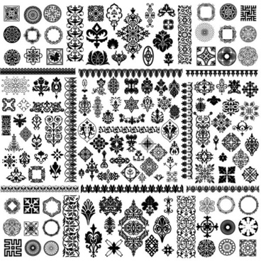 corner conventional black and white classic pattern vector