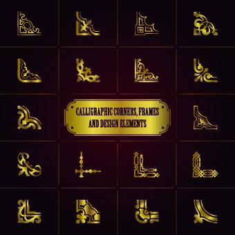 corners gold design element vector