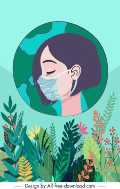 corona epidemic background flowers masking girl sketch
