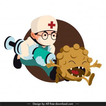 corona epidemic banner funny doctor virus cartoon sketch