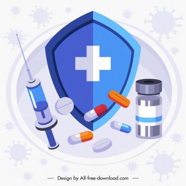 corona epidemic banner medical shield drug vaccine sketch