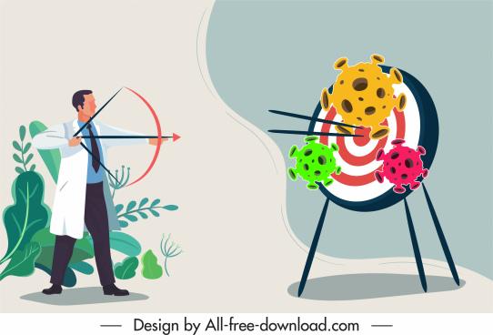 corona virus banner doctor shooting bacteria cartoon design