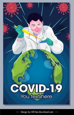 corona virus banner earth chemist doctor sketch