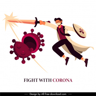 corona virus banner fighting doctor bacteria cartoon sketch