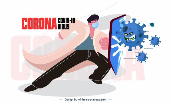 corona virus banner fighting doctor stylized virus sketch