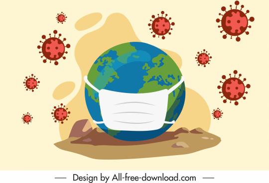 corona virus banner masking earth bacteria sketch