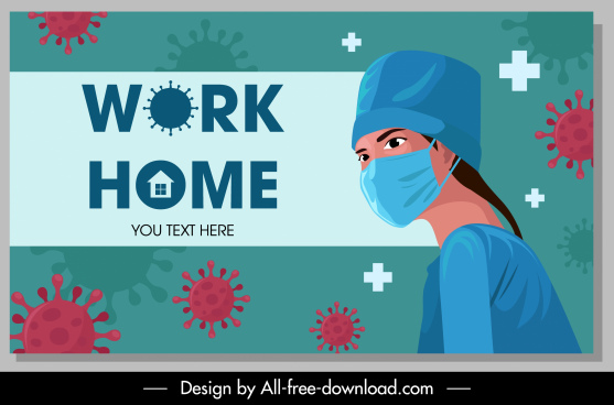 corona virus banner nurse icon cartoon character