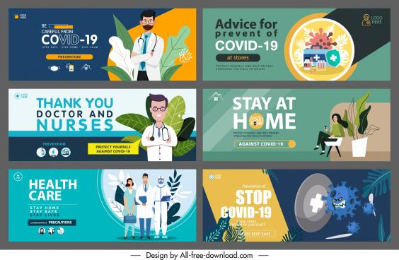 corona virus banners templates colorful classical design