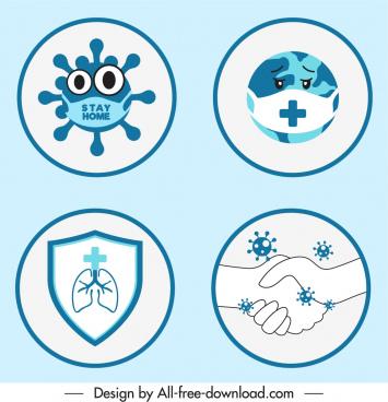 corona virus icons circle isolation handdrawn symbols